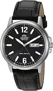 Orient Stainless Steel Japanese Automatic Leather Calfskin Strap, Black, 8.25 Casual Watch (Model: RA-AA0C04B19A)