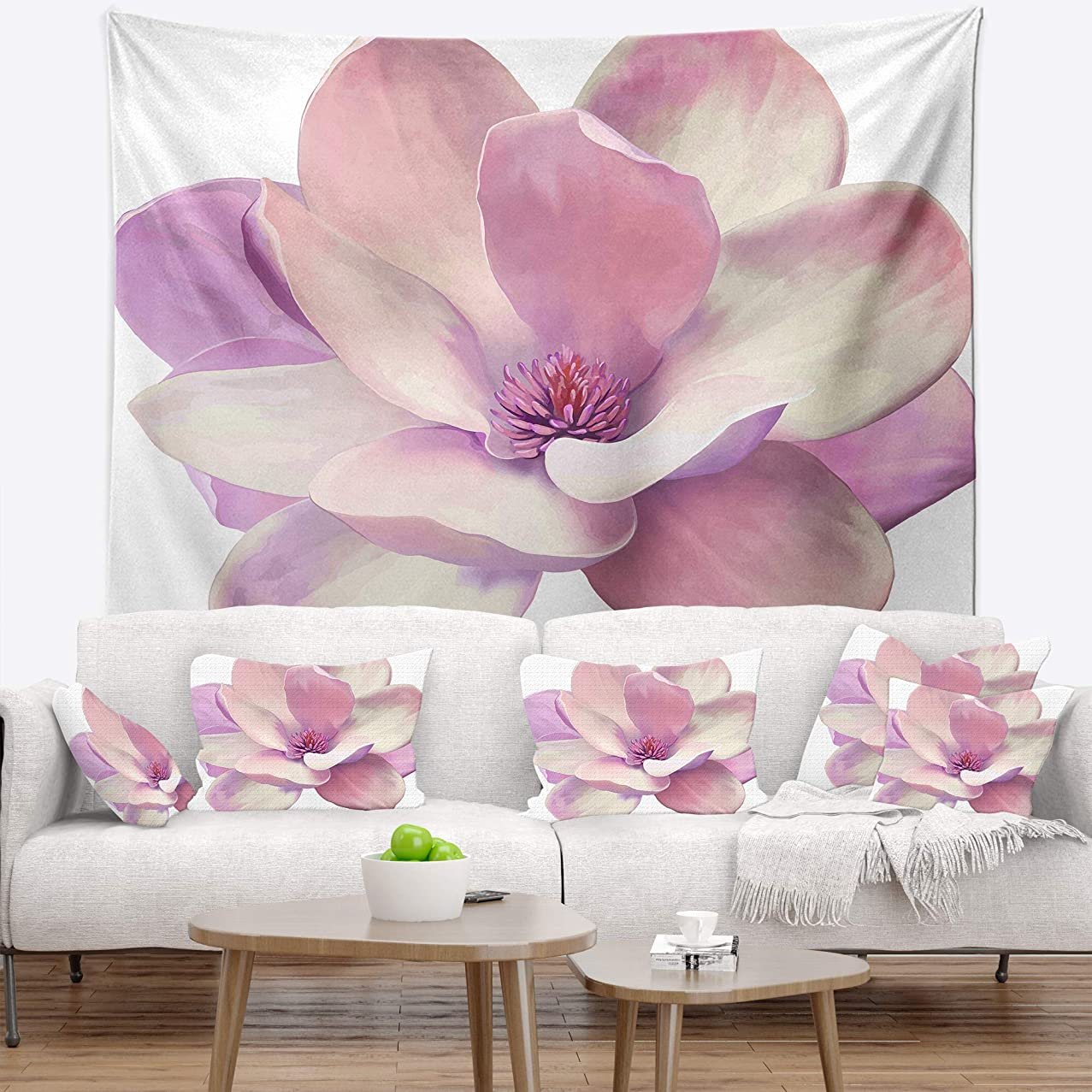 Designart TAP14228-50-60 ' Cute Light Pink Magnolia Flowers Tapestrywork Blanket Décor Art for Home and Office Wall Tapestry Large: 50 in. x 60 in. Created On Lightweight Polyester Fabric
