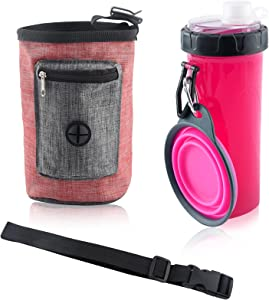 Auidy_6TXD Dog Travel Water Bottle, Dog Treat Pouch for Pet Training, 2 in 1 Portable Dog Water Dispenser + Food Container with 1 Collapsible Bowl for Pets Walking Traveling