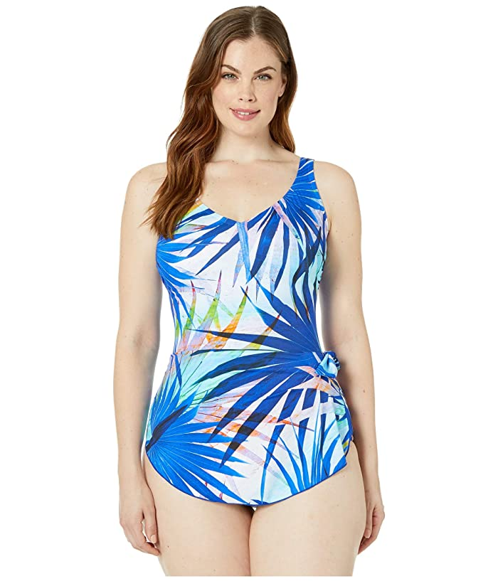 69e84cfd92bbb Maxine of Hollywood Swimwear Palm Party Wide Strap Sarong Swimdress ...