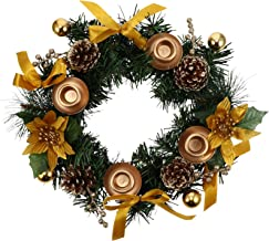 FRCOLOR Christmas Wreath Candle Holder Artificial Advent Wreath with Golden Poinsettia Berry Pinecone Xmas Candle Ring Sta...