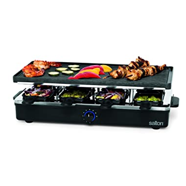 Salton PG1645 Raclette Indoor Electric Party Grill & Raclette, 8 Person, Black