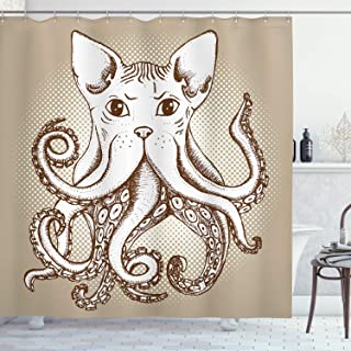 Lunarable Octopus Shower Curtain, Octopus with Cat Head Illustration Vintage Style Cartoon Cat with Tentacles Print, Cloth Fabric Bathroom Decor Set with Hooks, 75