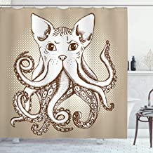 Ambesonne Octopus Decor Collection, Octopus with Cat Head Illustration Vintage Style Cartoon Cat with Tentacles Home Decor, Polyester Fabric Bathroom Shower Curtain, 84 Inches Extra Long, Grey White
