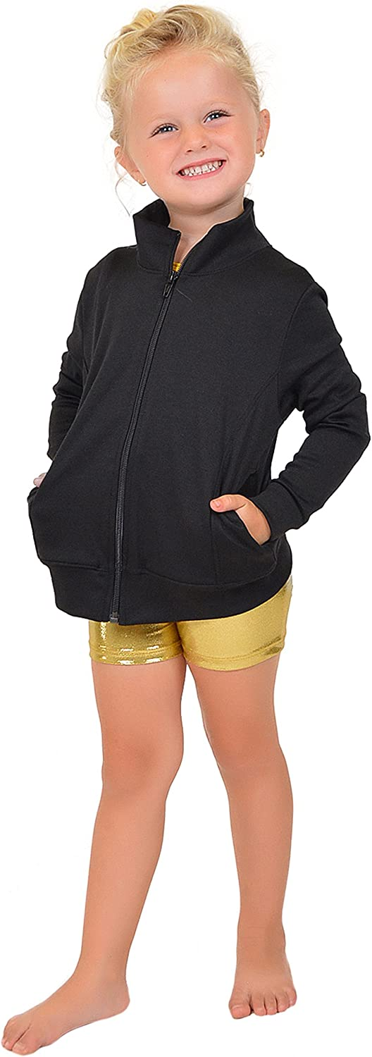 Stretch is Comfort Girl's Dance Cheer Performance Warm Up Jacket Black