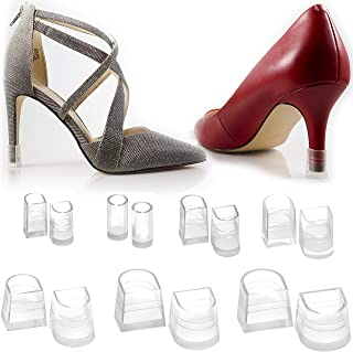 Heel Hunks Clear-Glass 7 Sizes 7 Pair Set Heel Protectors Replacement Tip Caps for High Heel Shoes and Stiletto - Anti-Slip and for Grass - (Pack of 7)