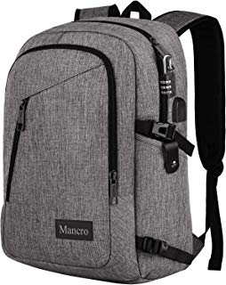 Laptop Backpack, School Backpacks Durable Water Resistant College Bookbag for Women and Men, Anti Theft Slim Business Travel Computer Bag with USB Charging Port Fits UNDER 17 Inch Laptop (Grey)