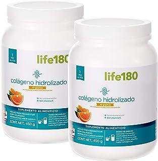 Life180, Colágeno Hidrolizado en Polvo, Sabor Naranja, Paquete de 2 piezas de 450 gr c/u , 60 Porciones, 10gr de Colágeno ...