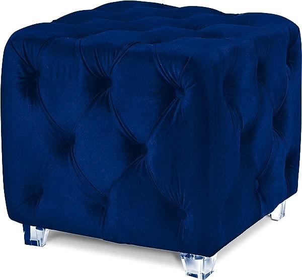 Carmen Cube Ottoman Velvet Tufted With Clear Acrylic Legs Navy Blue