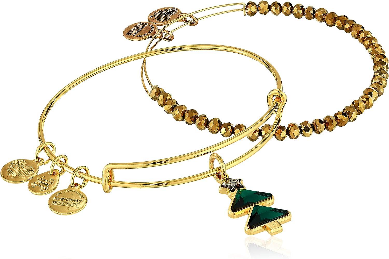 Alex and Ani Crystal Christmas Tree Set of 2 Bangle Bracelet, Shiny Gold, Expandable
