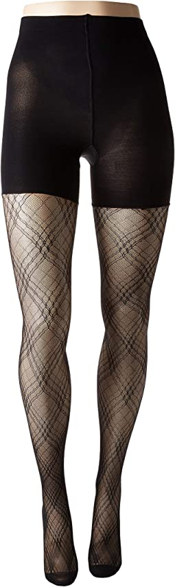 Plaid Lace Mid-Thigh Shaping Tights