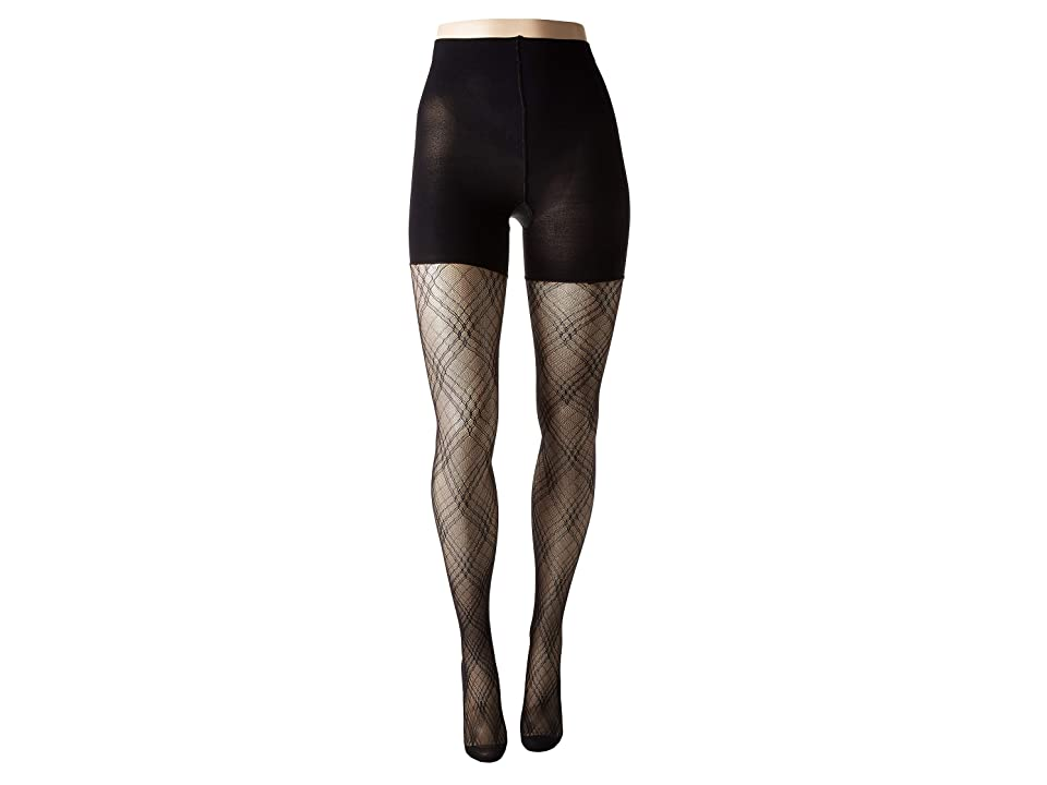 Spanx Plaid Lace Mid-Thigh Shaping Tights (Very Black) Hose