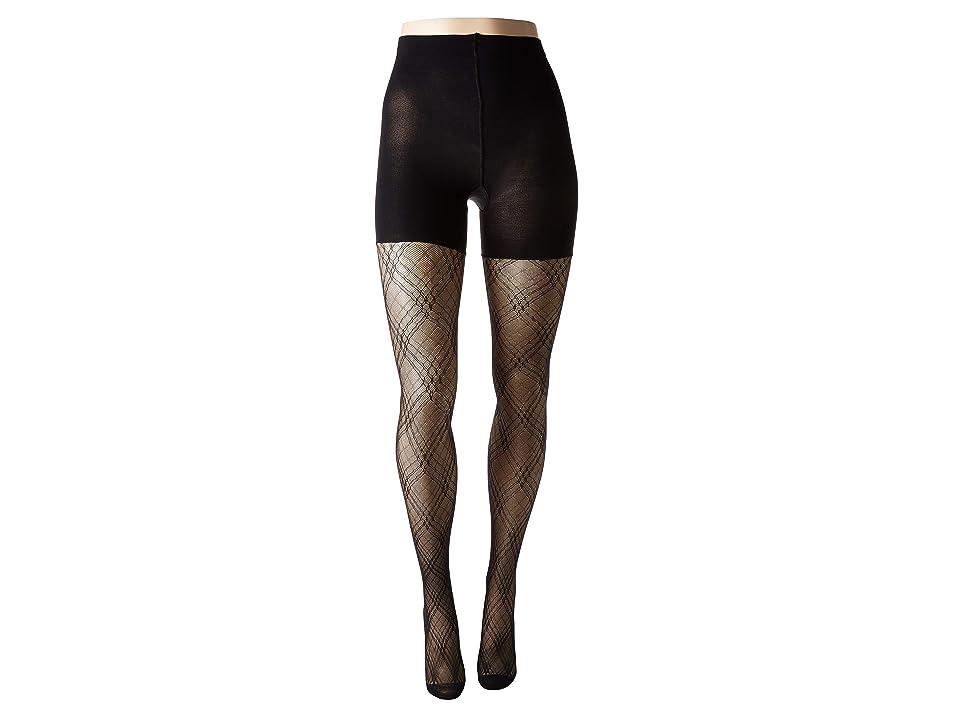Spanx Plaid Lace Mid-Thigh Shaping Tights (Very Black) Hose