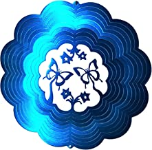 Butterfly Dbl with Flowers Blue Garden Wind Spinner, Metal Yard Art and Outdoor Décor, 12 Inch