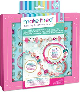Make It Real - Halo Charms Bracelets Think Pink - DIY Charm Bracelet Making Kit - Friendship Bracelet Kit with Beads, Char...