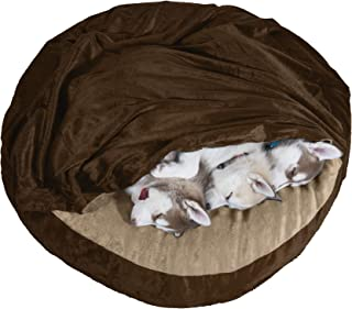 Furhaven Pet Dog Bed | Cooling Gel Memory Foam Orthopedic Round Cuddle Nest Micro Velvet Snuggery Blanket Pet Bed w/ Removable Cover for Dogs & Cats - Available in Multiple Colors & Sizes