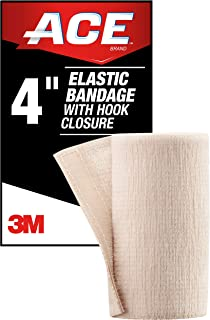 ACE 4 Inch Elastic Bandage with Hook Closure, Beige, Ideal for Sports, Comfortable design with soft feel, Wash and Reuse