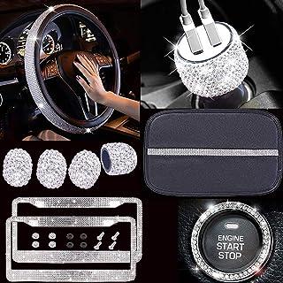 Conjunto de 10 acessórios de carro cintilantes para mulheres, capa para volante de carro diamante, 2 peças de molduras de ...