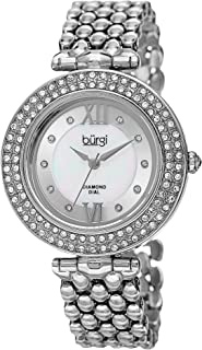 Burgi Women's Luxury Analogue Display Swiss Quartz Watch with Alloy Bracelet