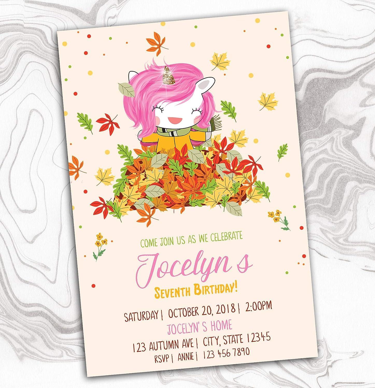 Fall Unicorn Dallas Mall Invitation overseas - Autumn Yellow Red Invite Orange Pink