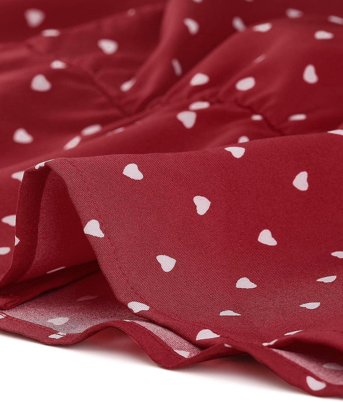 Allegra K Women's Vintage Heart Shirt Elegant Button Front Blouse Peter Pan Collar Top