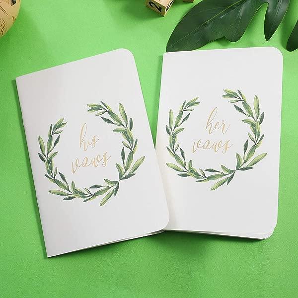 AKITSUMA Wedding Vow Books His And Her Vow Book Set Of 2 White US AKI 29