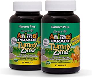 NaturesPlus Animal Parade Source of Life Tummy Zyme Children's Chewable (2 Pack) - Tropical Fruit Flavor - 90 Animal Shaped Tablets - Digestive Aid - Vegetarian, Gluten-Free - 180 Total Servings
