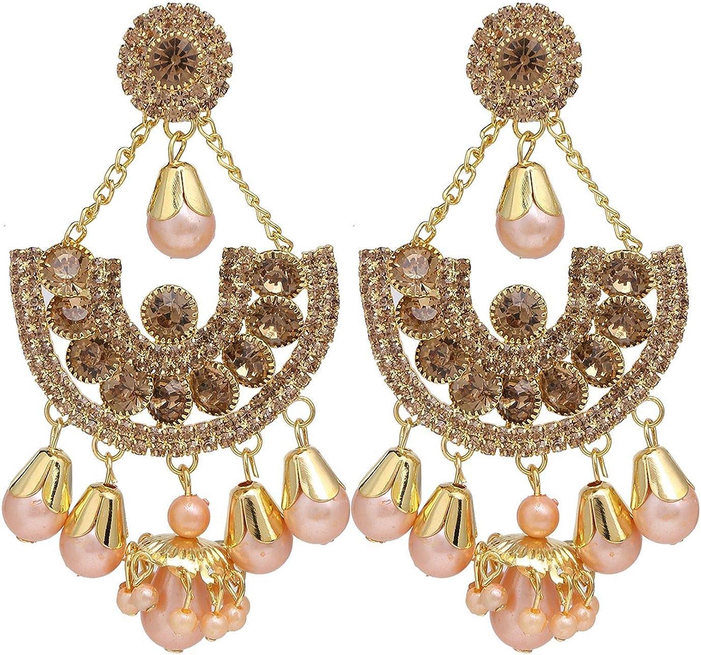 Efulgenz Crystal Rhinestone Gold Plated Floral Dangle Chandelier Statement Bridal Wedding Earring Set Jewelry