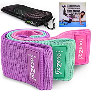 ecoZen Lifestyle Non-Slip Fabric Resistance Bands for Legs and Butt Workout   Set of 3 Glute Bands for Exercise   Elastic Stretch Loops for Hips, Glutes, Legs, Gym, Travel