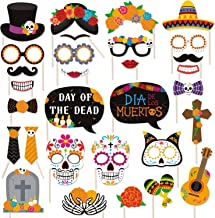 30 PCS Day of the Dead Photo Booth Props Día de los Muertos Centerpiece Sugar Skull Masks Marigold Flowers Decorations for Mexican Birthday Party Wedding Bachelorette Fiesta Party Supplies