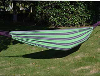 """79"""" 55"""" Hammock Double Size Quilted Fabric Sleep Bed W/Pillow-Stripe-Purple-Green"""
