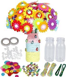 Flower Vase Arts and Craft Kit for Kids - Birthday Gifts Colorful Button Art Felt Flower DIY Kit - Make Your Own Flower Bo...