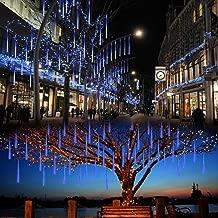Lalapao Outdoor Christmas String Lights Solar Powered LED Meteor Shower Rain Lights Xmas Falling Raindrop Light 8 Tubes 288 LED Cascading Fairy Lights for Tree Garden Wedding Party Home Decor (Blue)
