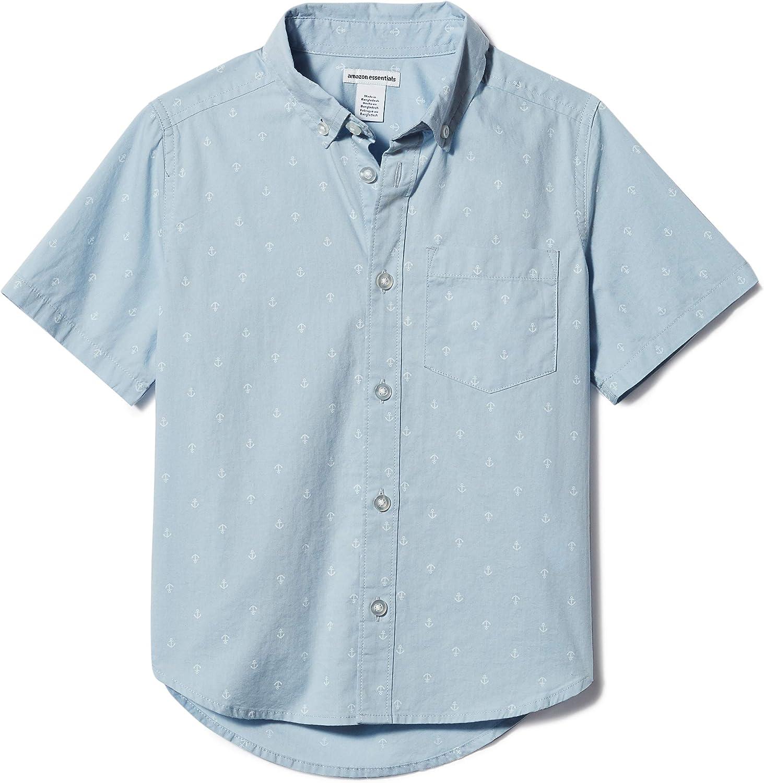 Amazon Essentials Boys' Short-Sleeve Woven Poplin Chambray Button-Down Shirts