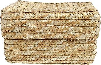 BESTonZON Pleciony kosz do przechowywania z pokrywką, 22 x 22 x 14 cm, prostokątny, pleciony kosz ze słomy, kosz regałowy,...