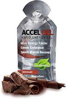 PacificHealth Accel Gel, All Natural Protein-Powered Rapid Energy Gel for Instant Energy During Intense Workouts - Box of 24, 1.3 Ounce Packets (Chocolate w/20mg Caffeine)