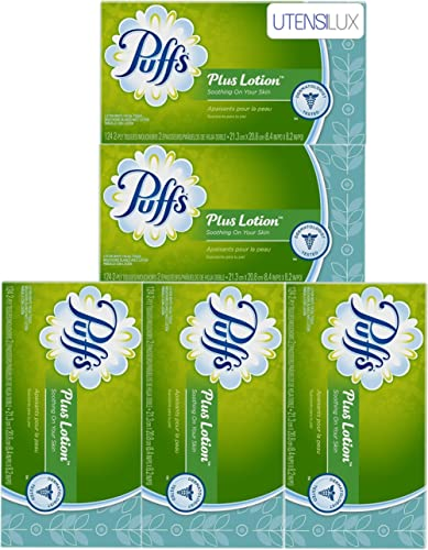 Puffs Plus Lotion Facial Tissues, 124 Count - 5 Pack