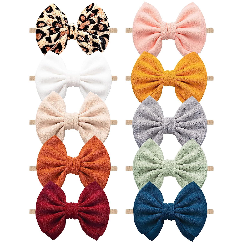 Pack of 10 Baby Girls Headbands Hair Bows Stretchy Handmade Nylon Hairbands for Newborn Infant Toddler Kids