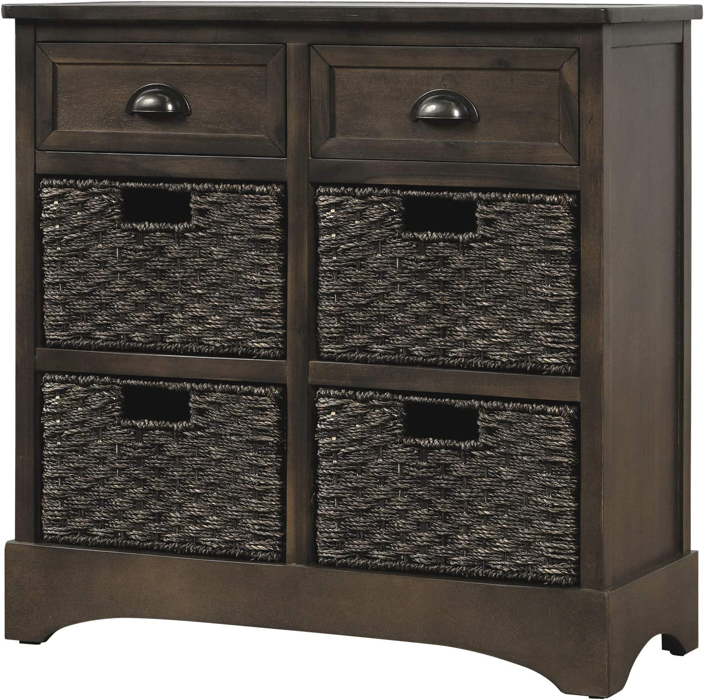 Rustic Storage Cheap mail order specialty store Cabinet with Ultra-Cheap Deals Two Drawers Classic Fabric Four and