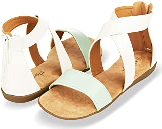 Sandals for Women | Open Toe, Gladiator/Criss Cross-Design Summer Sandals W/Zip Up Back | Comfy, Faux Leather Ankle Straps W/Flat Sole, Memory Foam Insole