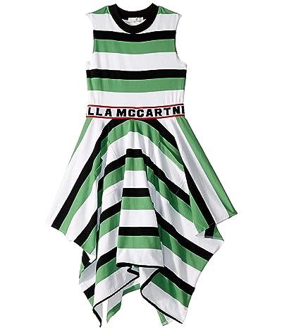 Stella McCartney Kids Sleeveless Logo Striped Dress (Toddler/Little Kids/Big Kids) (Green/White) Girl