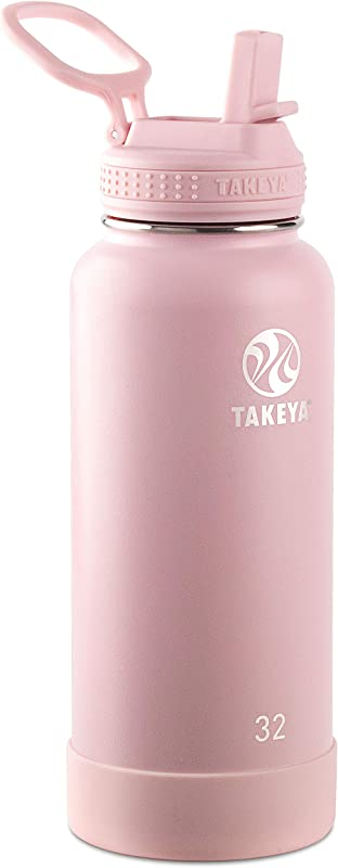 Takeya 51241 Actives Insulated Stainless Steel Bottle W Straw Lid 32 Oz Blush