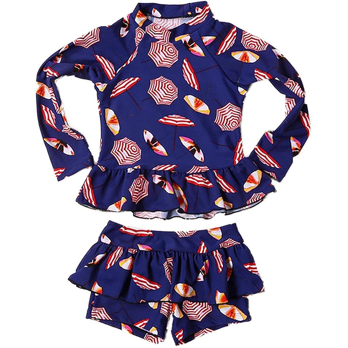 Baby Kids Girls 2pcs Long Sleeve Sun Protection Umbrella Print Rash Guard Beach Swimwear Swimsuit UPF 50+ UV