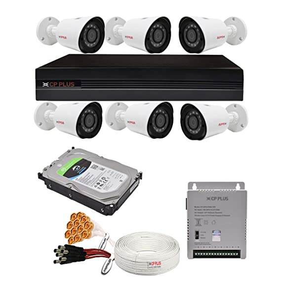 CP Plus 2.4MP, H.265+, 4TB Storage, 6 Camera Combo Kit with (8Ch DVR, 6 Bullet Cameras, 4TB HDD, Power Supply, 90Mtr Cable, Audio Mic and Connectors) 2.4 MegaPixel CCTV Security Camera Set