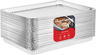 Aluminum Pans Cookie Sheet Baking Pans (15 Pack) Disposable Aluminum Foil Trays - Reusable and Durable Nonstick Baking Sheets – 16 Inch x 11 Inch