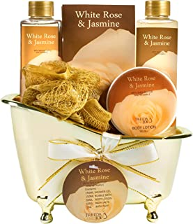 Luxurious White Rose Jasmine Spa Gift Set For Women Displayed In Elegant Gold Tub..