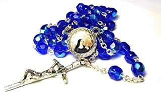 3rd class crystal glass relic rosary Saint Rita of Cascia patron of Lost impossible causes, sickness, wounds marital problems, abuse, mothers Santa Rita de Casia Causas imposibles, problemas maritales
