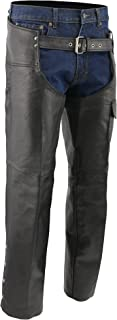 M-BOSS MOTORCYCLE APPAREL-BOS15504-BLACK-Men's leather chaps - zip-out insulated and lined plain biker motorcycle chaps.-BLACK-X-SMALL