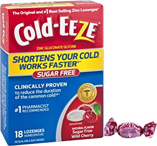 Cold-EEZE Cold Remedy Lozenges Sugar Free Wild Cherry, 24 Count