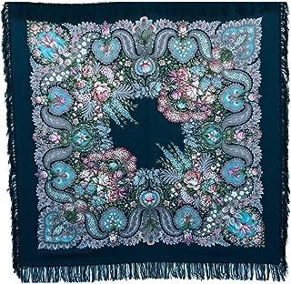 RUSSIAN shawl OLEANA blue - floral scarf 100% wool - blue - 100% Original - made in Russia